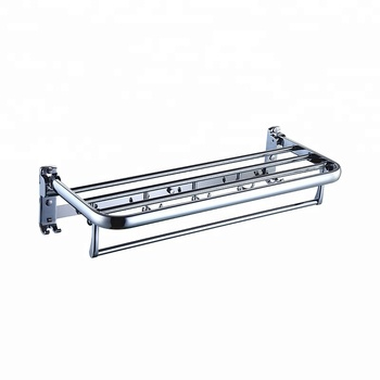 New style hotel bathroom toilet bath folding wall mount hung stainless steel shelf accessories towel rack with hook