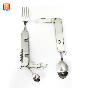 Outdoor  Foldable Pocket Camping Stainless Steel multi functions Knife Sets With Fork And Spoon