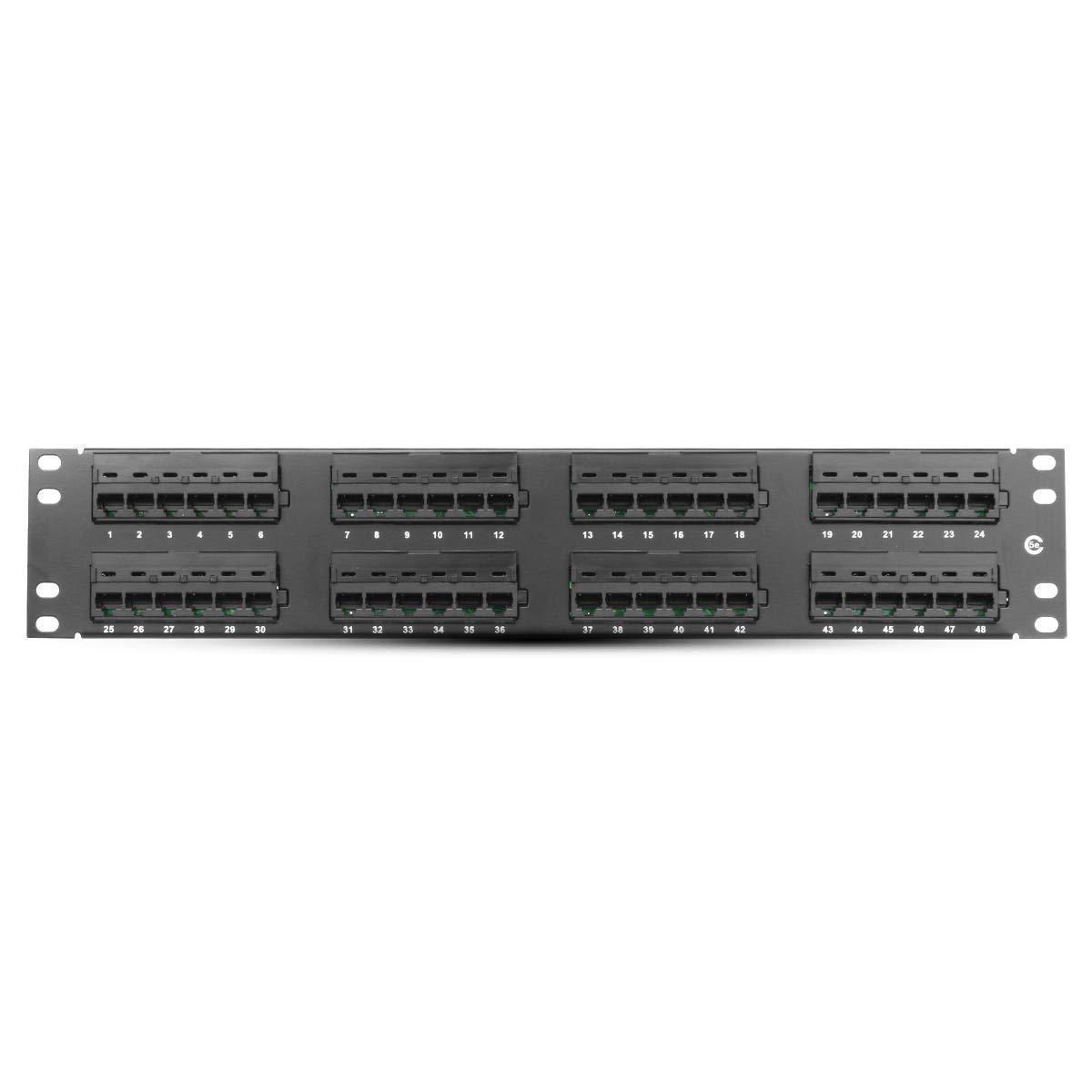48 Port CAT5e RJ45 110 Network Ethernet Rack Mount 2U 2RU Two Space Patch Panel Connector - Networking Networking Cables & tools - 1 48 Port Cat5e RJ45 110 Network Ethernet Rack Mount 2U 2RU Two