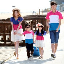 2016 New coming Family Matching outfit Contrast Color patchwork Mama Girl Chiffon Dress Dad Boy T