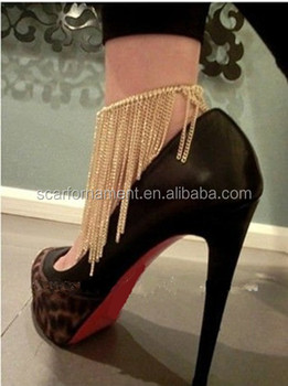 3d0b777e595 Gold Silver Sexy Barefoot Anklet Chain Or Anklet Boots WithTallsel Chain  Decorative High Heel Jewelry