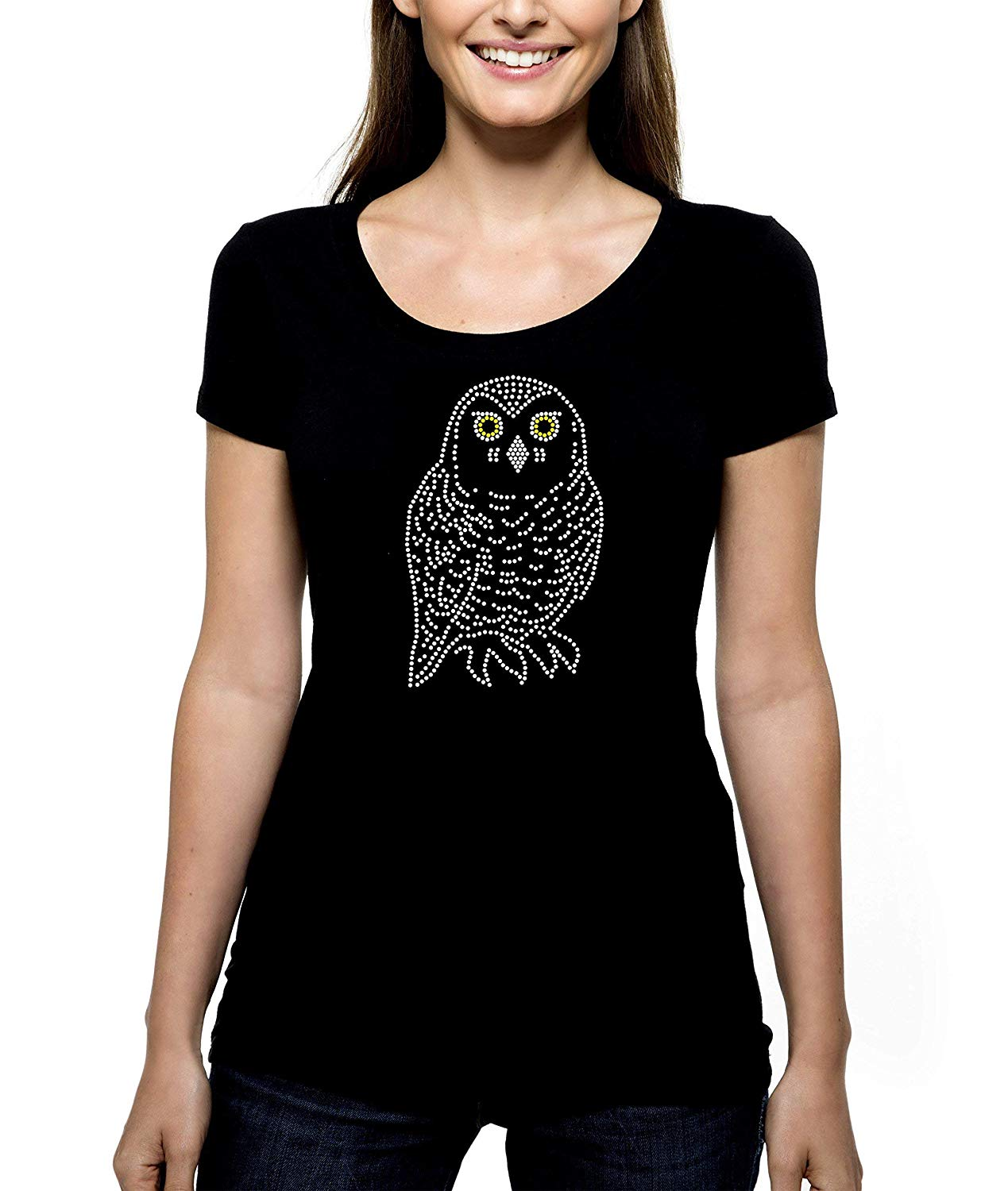 8d459958fd9 Get Quotations · Snowy Owl RHINESTONE T-Shirt Shirt Tee Bling - Bird of  Prey Birds Owls Raptor