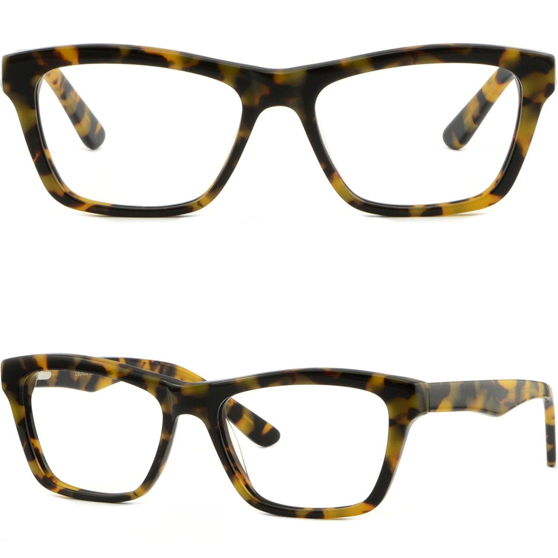 ede9ad2f90d Get Quotations · Square Men Women Frames Spring Loaded Acetate Plastic  Glasses Tortoiseshell