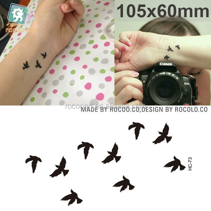 HC-73/New waterproof black smal swallow bird temporary tattoo sticker