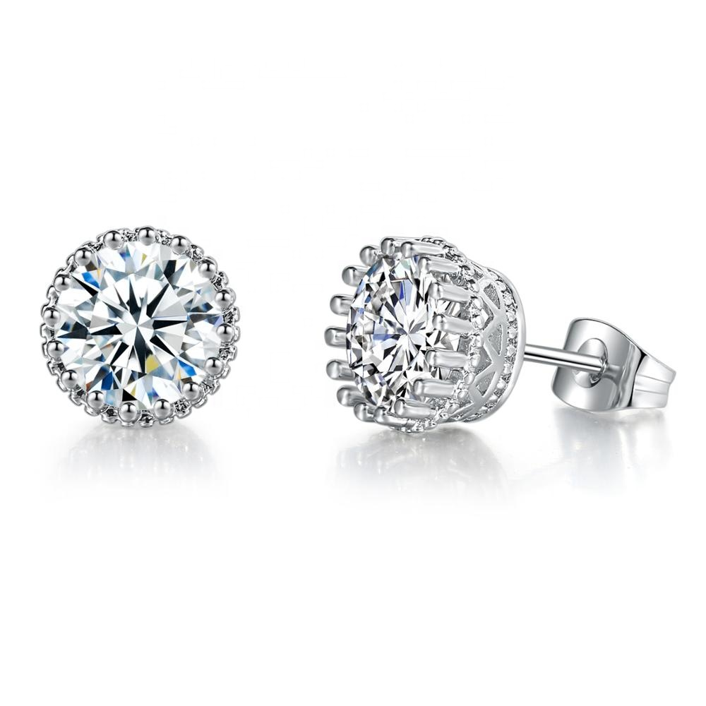 Wholesale Korean Style Simple CZ Earring 18K White Gold Plated Round Cut Austrian Crystal Stud Earrings for Bridal Girl E848 фото