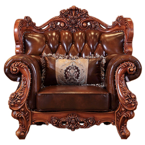 Hot sale Quality antique classic European style solid wood carving leather sofa living room furniture set