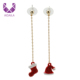 AIDAILA Christmas Jewellery Asymmetry Long Red Hat Boot Designer Earrings For Cute Girls