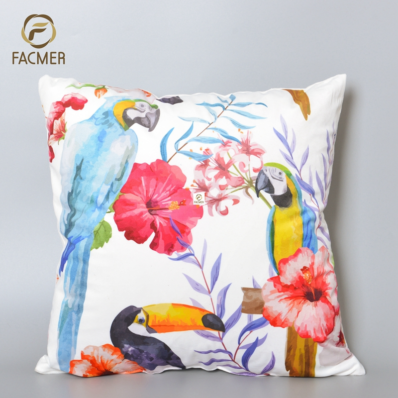 2018 parrot and flowers New cushion design Digital Printing Cushion Cover Rain forest Latest Design Cushion Covers for sofa