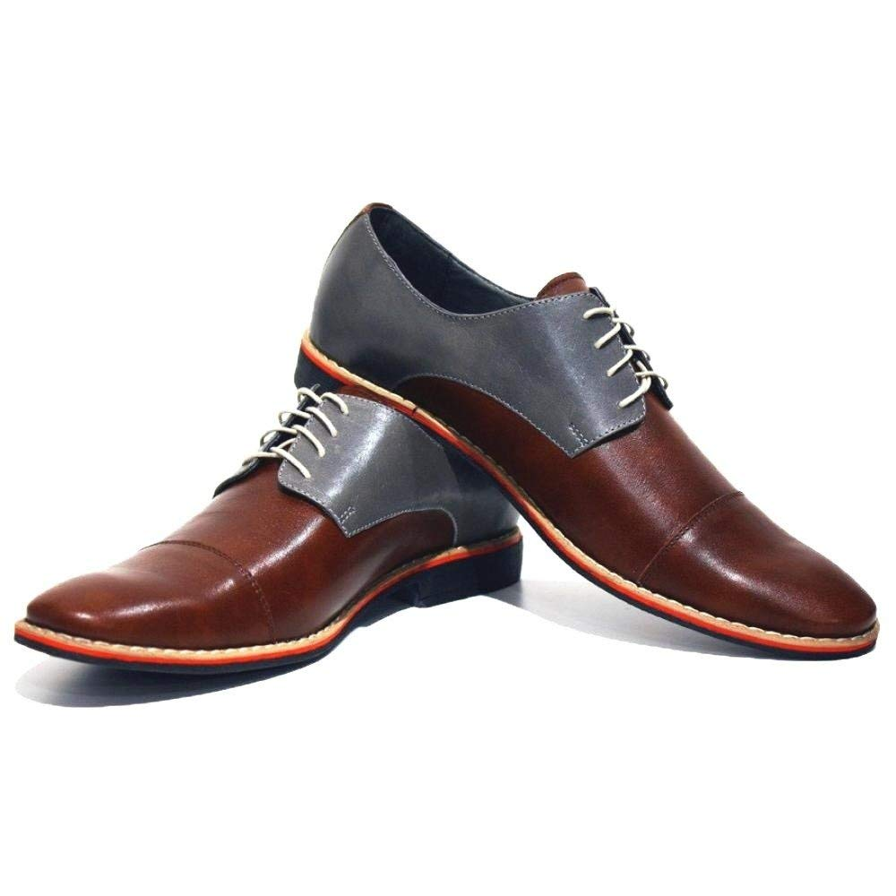 Modello Soprano - Handmade Italian Mens Brown Oxfords Dress Shoes - Cowhide Smooth Leather - Lace-up