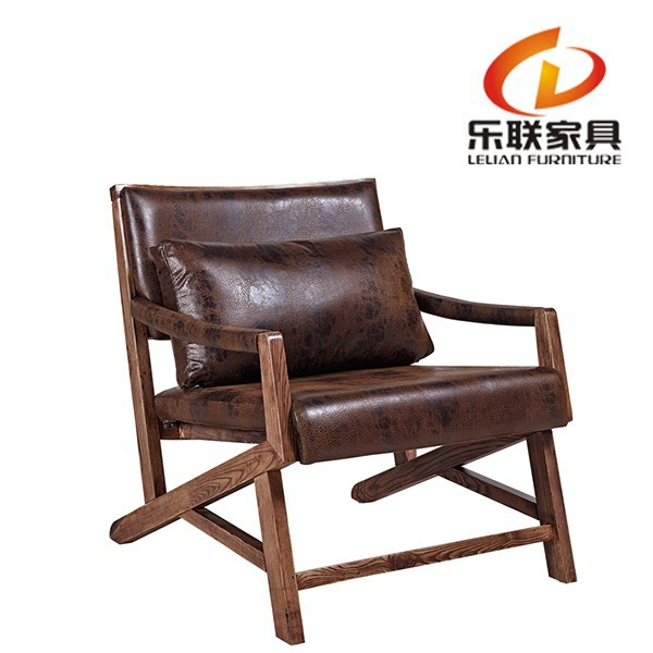 Lounge Chair/upholstered lounge rocking chair/brown leather wooden chair FD14A