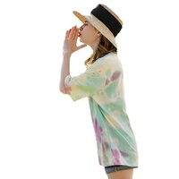 Breathable o neck short sleeve letter tie dye t shirts women
