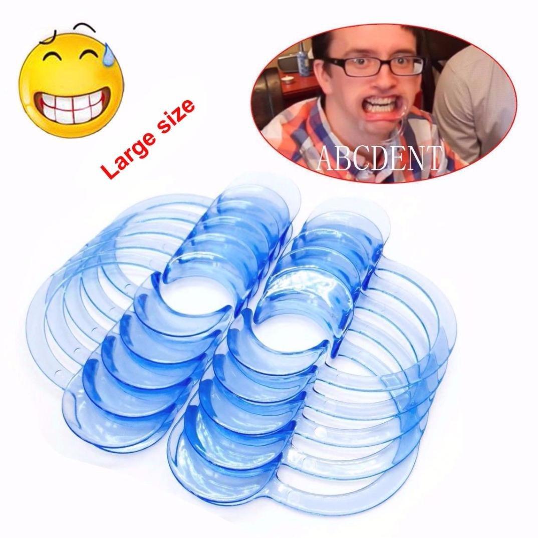 Mouth Opener,Muxika 10pcs Dental C-Shape Teeth Whitening Intraoral Cheek Lip Retractor Opener for Adult(Light blue) (L)