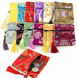 Chinese Antique Satin Zipper Silk Jewelry Packaging Pouch With Tassel