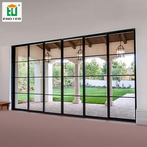 Superieur Industrial Trackless Interior Black Sliding French Doors Aluminium 4 Panel  Interior Doors Glass Patio Sliding Doors