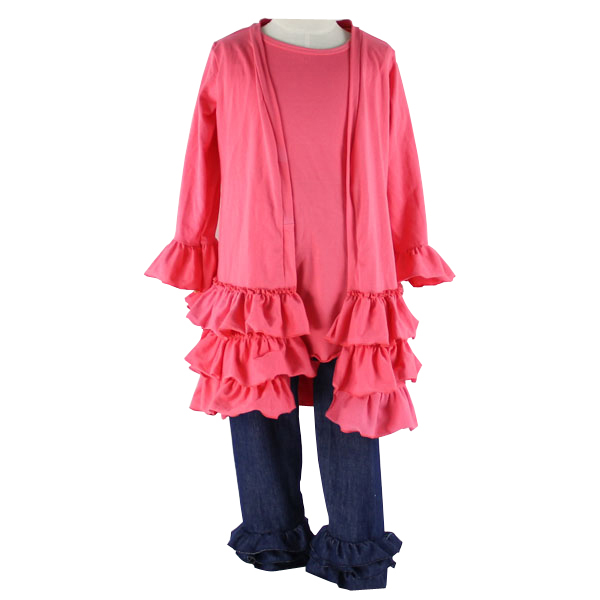2016 Kaiyo baby clothes factory long sleeve top with long sleeve wrap and ruffle jeans pants 3pcs outfit kids pajamas