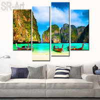 Modular Wall Paintings 4 Panels Canvas Print Wood Boat On Ocean And Hill Mountain Painting for Living Room Art Picture Poster