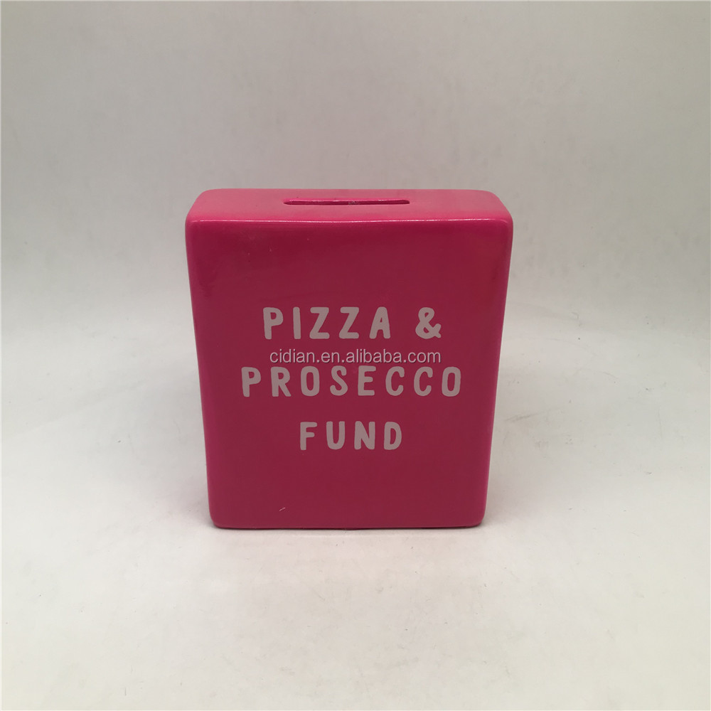 Pink box shaped ceramic money  piggy bank simple coin bank