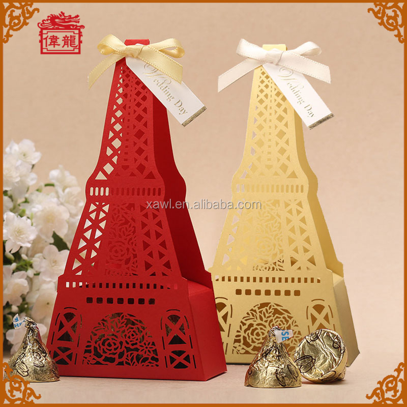 Red Wedding Eiffel Tower Candy Gift Box, Sweets for Favor Boxes XTH-005_RE