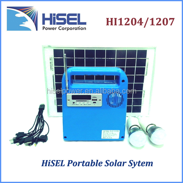 HiSEL Portable DC solar Lighting system with mini solar panel for home using