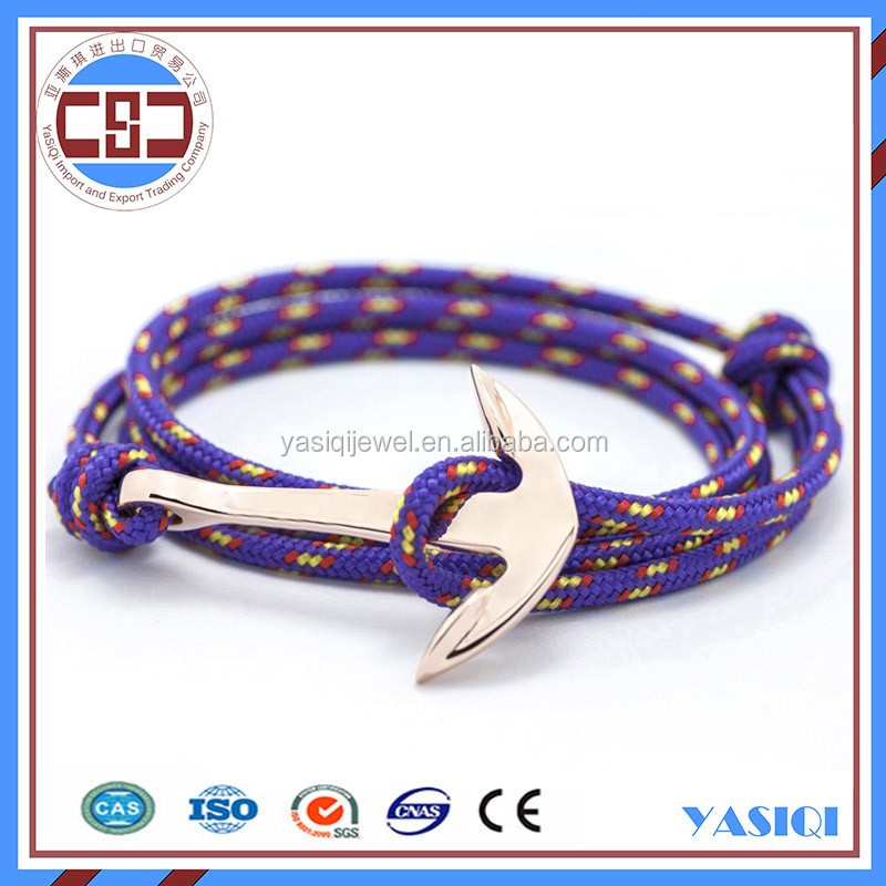 New design multi colour nautical nylon rope mens bracelet jewelry