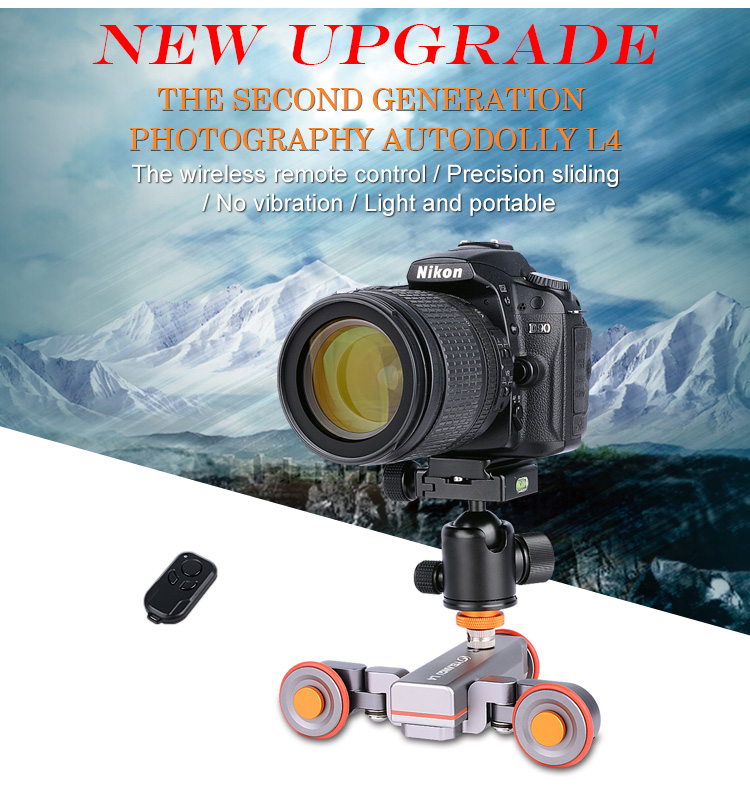 YELANGU Motorized Camera Slider Electric Rail Rolling Track Slider Skater Dolly Car Autodolly L4 for dslr Camera Smartphone
