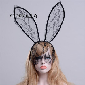 new arrival fancy cosplay halloween party sexy lace animal rabbit bunny ears veil mask hair bands headband
