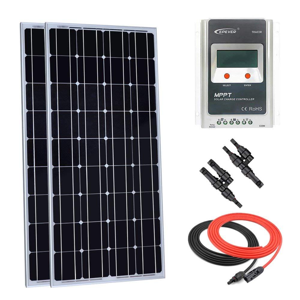 Giosolar 200 Watt Monocrystalline Solar Panel Kit Off-Grid: 2pcs 100W Mono Solar Panel + 20A LCD MPPT Charge Controller + MC4 Y Branch Connector + Solar Cable