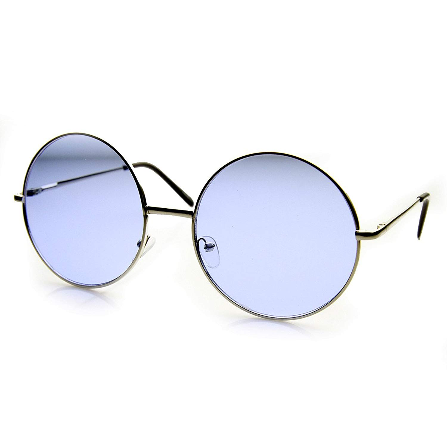 31c72e9c9c9 Get Quotations · zeroUV - Womens Fashion Oversized Color Tint Lens Metal Circle  Round Sunglasses