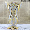 Gold galvanized flower large ceramic decorative vase