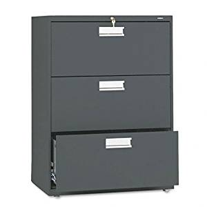 HON Products - HON - Brigade 600 Series Three-Drawer Lateral File, 30w x 19-1/4d x 40-7/8h, Charcoal - Sold As 1 Each - Counterweight included, where applicable, to meet ANSI/BIFMA stability requirements. - Lock secures both sides of drawer. - Heavy-duty, three-part, telescoping, steel ball bearing