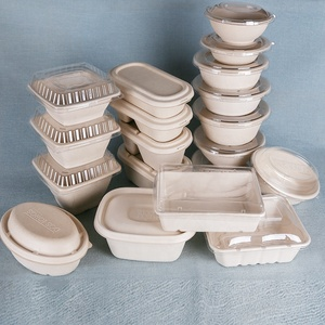 Biodegradable Paper Pulp Lunch Container, Sugarcane Bagasse Food container, Disposable Tableware