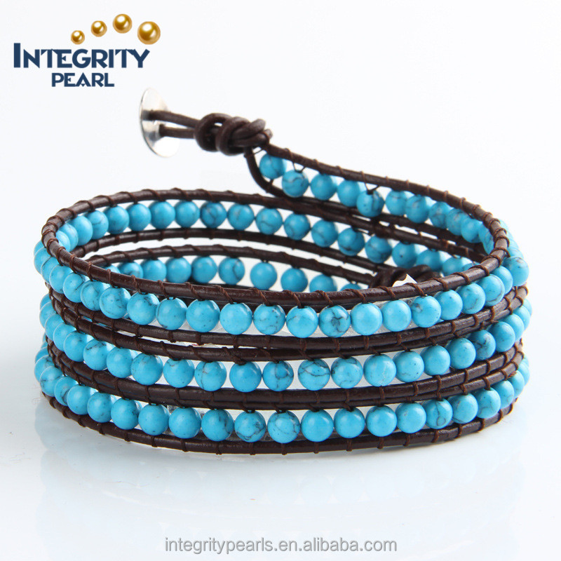 4mm natural blue turquoise four rows multi layer adjustable wire bangle bracelet wholesale