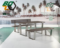 BOZE Stainless steel garden furniture, poly wood outdoor dinning set