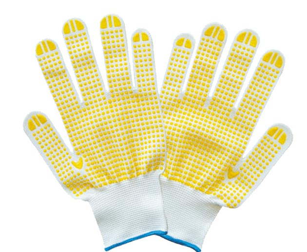 Brand MHR Lasting Durable Safety Product Mechanic Cotton Yarn Knit Safety Working Glove With Black PVC Coated Palm