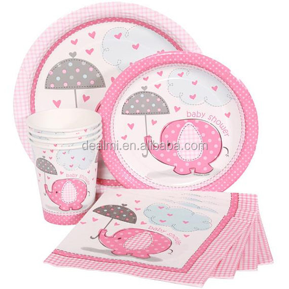 Wholesale Baby Shower 40 Pc Set Patchwork Pink Blue Elephant Party Supplies