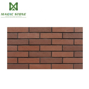 Thin flexible clay facing brick red stone wall cladding for outdoor wall decoration