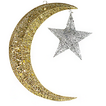 new design star moon shape metal christmas decorations for gifts