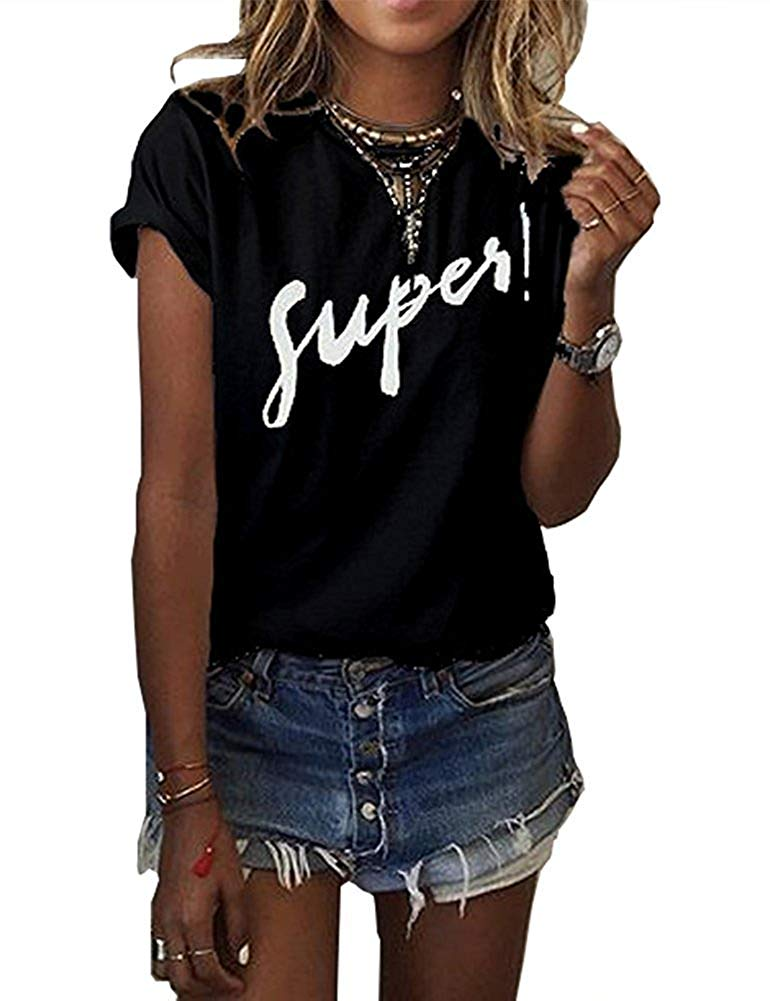 b510f8ce6 Get Quotations · Haircloud Women's Summer Letter Printed Tops Funny Juniors  T Shirt Short Sleeve Tees