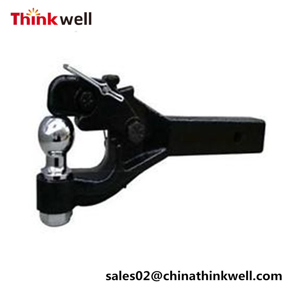 Chrome Hollow Shank Trailer Tri-ball Mount With Hook
