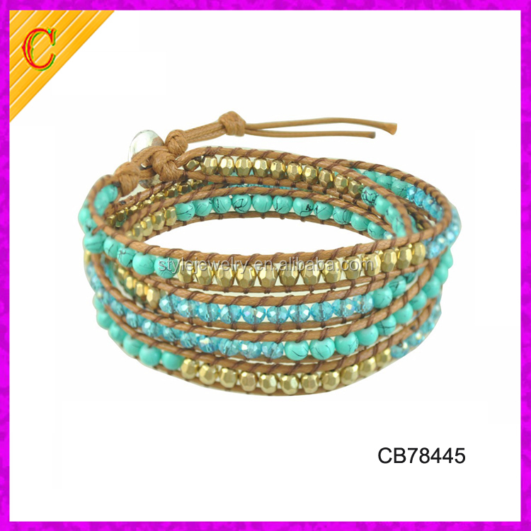 CB78445 Sparkling Faceted Crystal Beads 5 Wraps Wax Rope Bracelet Multilayer 4mm Beads Woven Bangle
