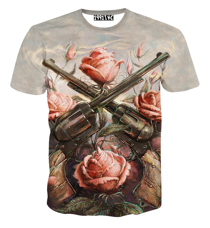 bcf47fc3dde3d Get Quotations · Painting Rose Gun 3D Print Girls Summer Shirt Fashion 2015  Short Sleeve Loose Womens T Shirt