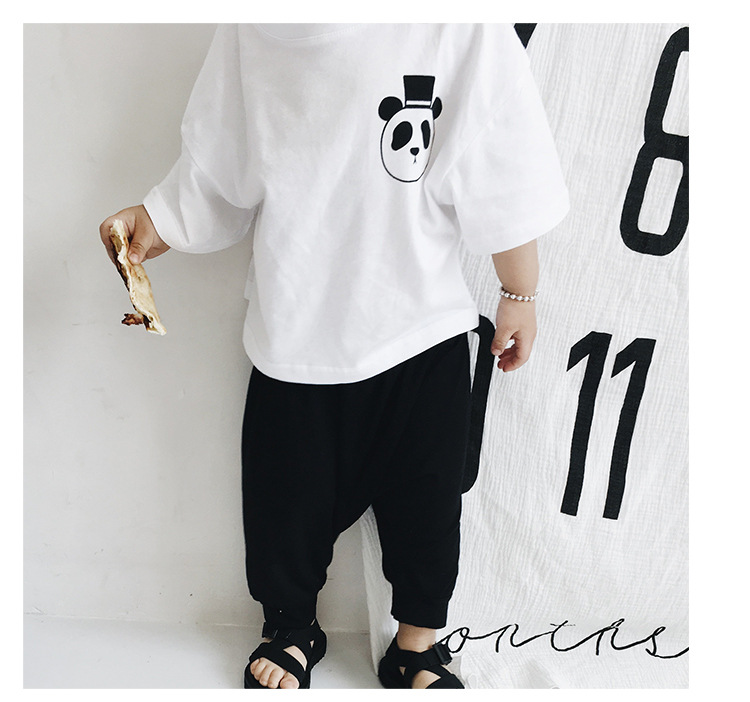 White Panda Print T-shirt Kid Cotton Casual T-shirts Children short Sleeve Casual Tees for Wholesale