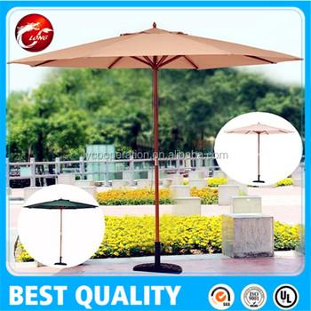 10feet Rope Pull Open Large Garden Patio Beach Umbrella Wood Pole