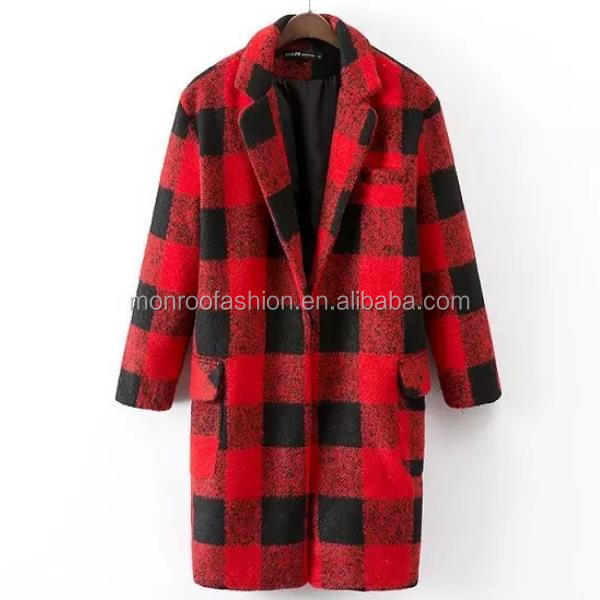 monroo Women black and red checked long winter coat latest coat designs for women