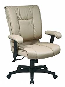 Avenue 6 Office Star EX9381-1 Deluxe Mid Back Executive Deluxe Coated Tan Leather Chair with Pillow Top Seat and Back