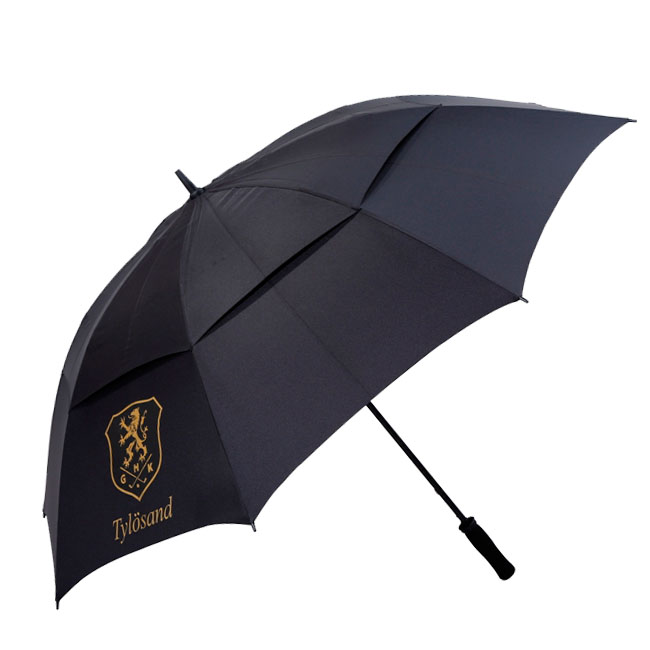 Hot sale black straight double nylon golf umbrella with high quality fiber frame