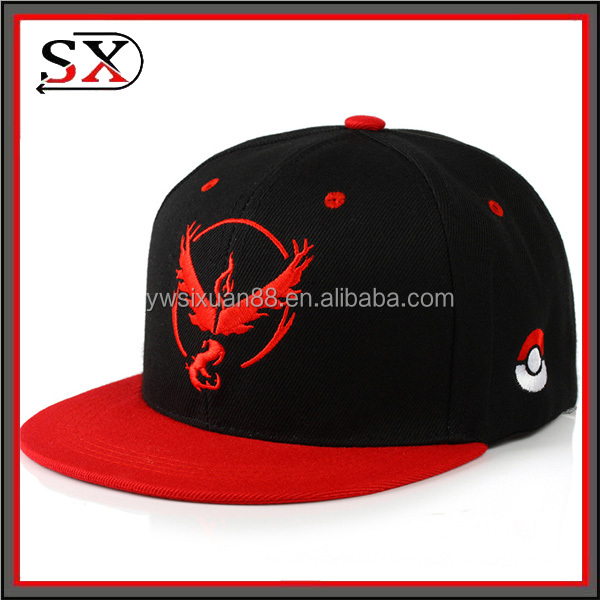 Hot selling high quality canvas cap unisex wholesale embroidery pokemon go hat
