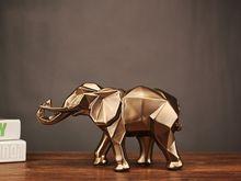 Современная Абстрактная статуя черного слона, украшения из смолы, украшения для дома, аксессуары, подарок, Геометрическая Смола, скульптура...(Китай)