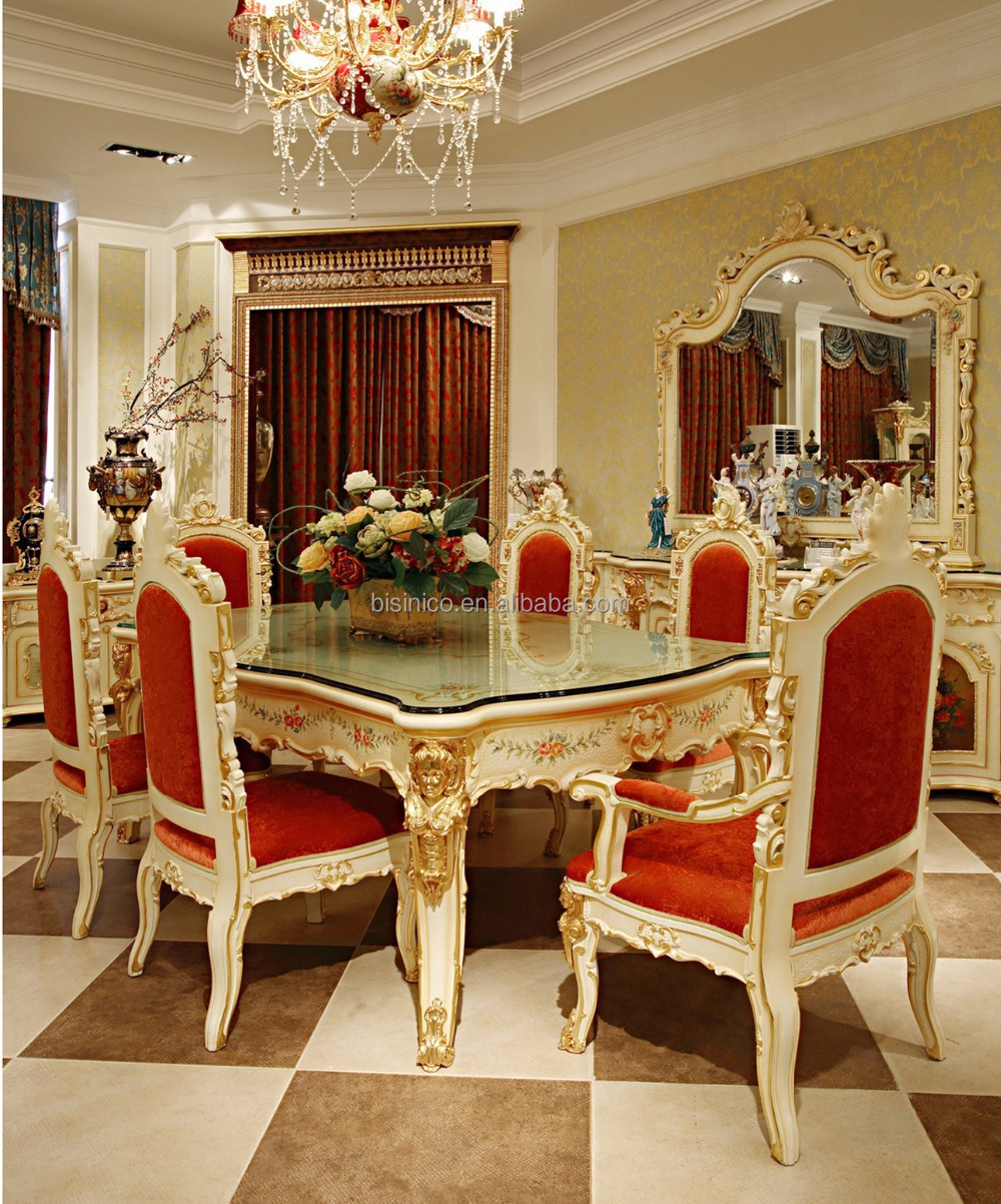 Anime Royal Dining Room: Luxe Franse Rococo Stijl Bladgoud Engel Buffet Tafel