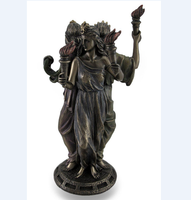 custom Bronze Finish Greek Goddess Hecate Triple Goddess Statue Figurine Hekate sculpture